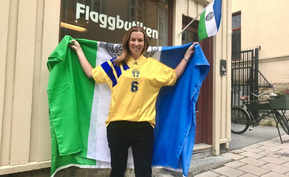 Teres Gärdin Sverigetröja Jämtlandsflagga